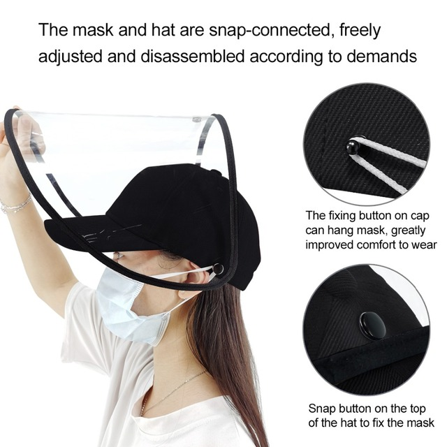 Outdoor protective Baseball cap Anti-saliva Full Face Cover Hat Safety Face Shield Removable Transparent Face Cover 3