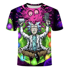 2021 new Rick and Mort theme cartoon 3D printing pattern casual street punk style summer fashion round neck short sleeve