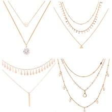4 Pcs/ Set Trendy Crystal Pearl Pendant Necklace Women Fashion Gold Chain Geometric Tassel Multilayer Necklace Jewelry trendy crystal pearl pendant chain necklace multilayer alloy women fashion clavicle choker necklace jewelry