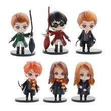 6 pçs/set Q Posket Anime Figura Brinquedos Hermione Ron Harries Malfoy Big Eye Coleção Ação Modelo Estatueta Decoração Do Carro Para As Crianças