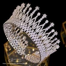 موضة تيارا الأميرة تيارا غطاء الرأس الزفاف إكسسوارات الشعر تاج كبير الأميرة العروس إكسسوارات الشعر العروس A00658