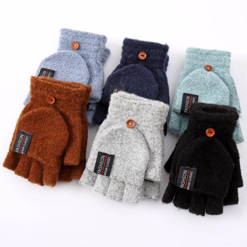 Calymel Unisex Winter Warm Mittens Cotton Wool Knitted Gloves Thickening Patchwork Flip Fingerless Exposed Finger Gloves