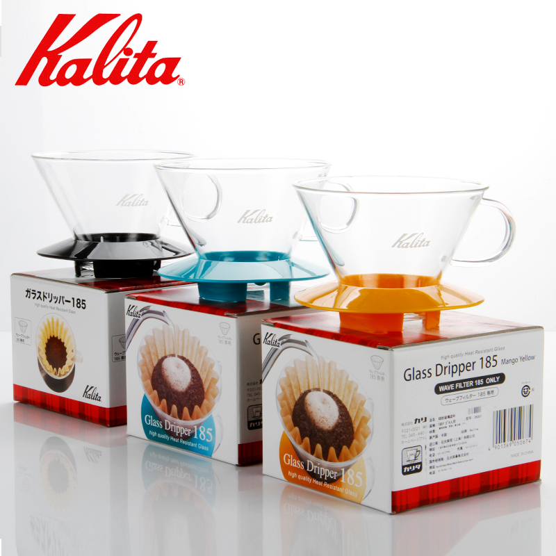 Kalita 155/185 Wave Dripper Glass Pour Over Coffee Maker 1-2cups / 2-4 Cups Drip Coffee Brew Coffee Filter Cup Hand Drip Filters