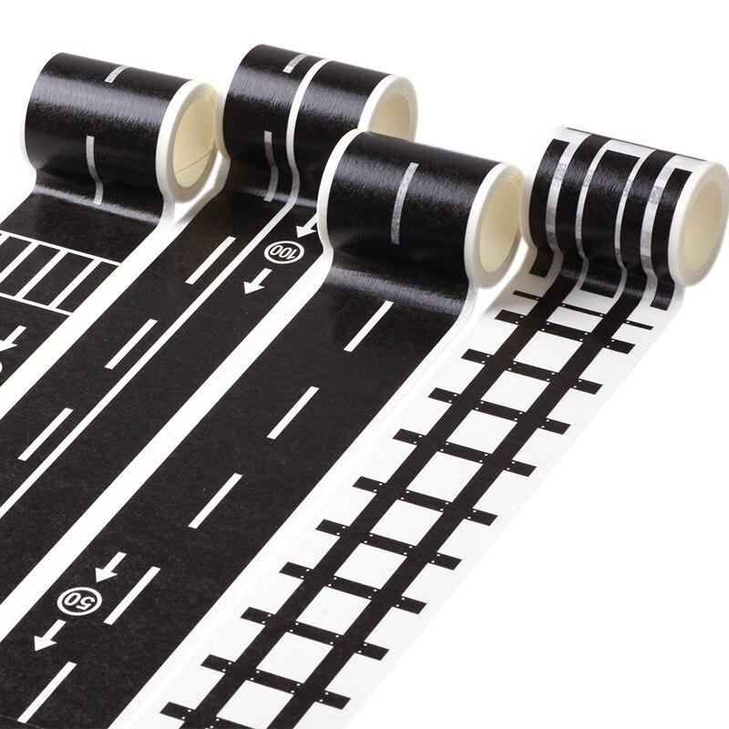 Creative Traffic Railway Road Sticker Tape Adhesive Tape DIY Scrapbooking Sticker Label Craft Masking Tape For Kids Toy Car Play