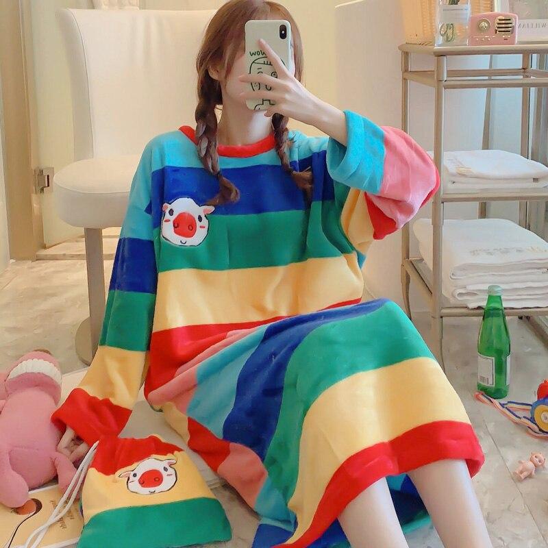 Beautiful Flannel Nightgown For Women Winter Loose Leisure Womens Nightdress Sleepwear Send Same Storage Bag Fashion Design