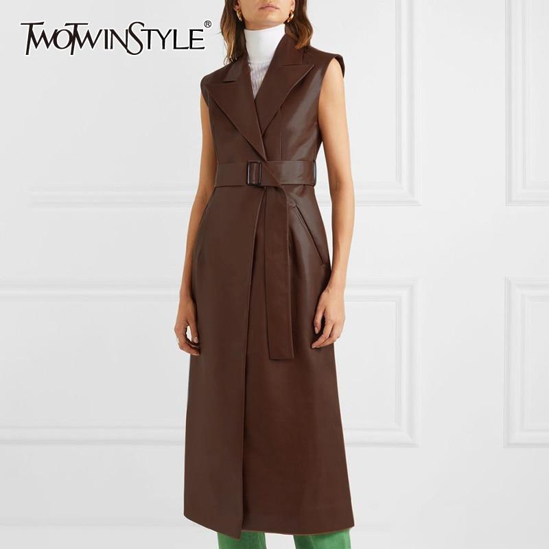 TWOTWINSTYLE Solid Leather Women's Dress Lapel Collar Sleeveless High Waist Sashes Split Midi Summer Dresses Female 2019 New