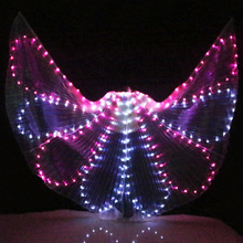Colorful Belly Dance Performance Costume LED Wings Dance Accessories Girls LED Wings Costume LED Butterfly Wings No Stick