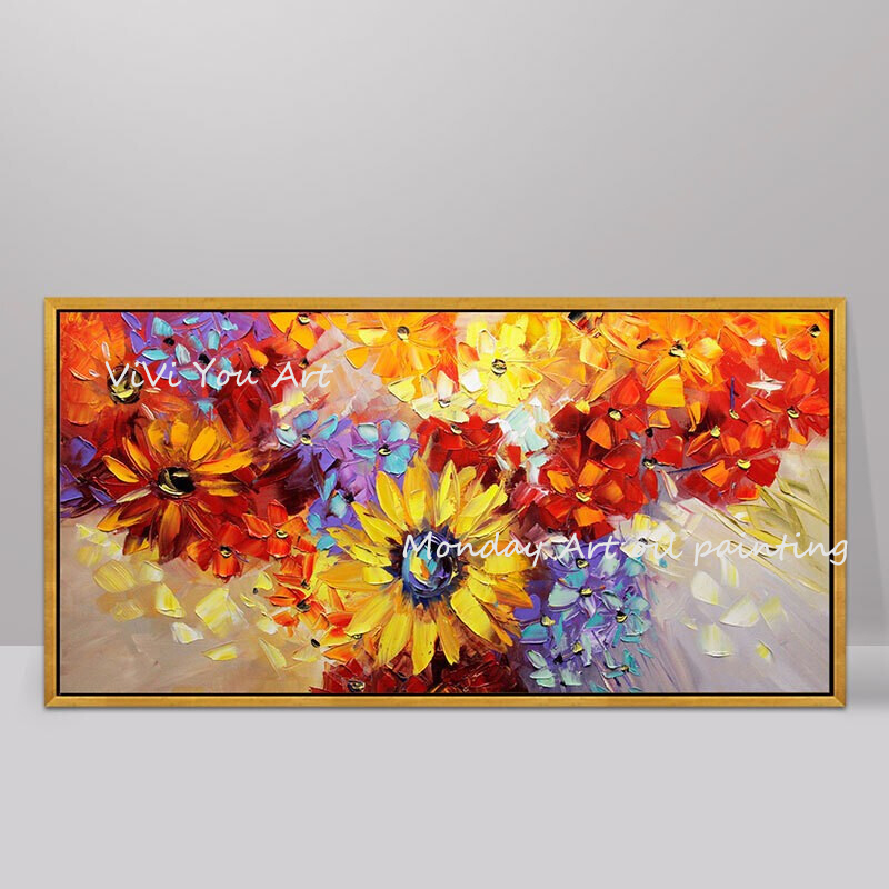 100-Hand-Painted-Abstract-Sunflowers-Oil-Painting-On-Canvas-Wall-Art-Wall-Adornment-Pictures-Painting-For