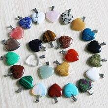 Fubaoying טבעי קריסטל ורוד לב שרשרת אבן תליון 20mm 50pcs הרבה קסמי להכנת תכשיטים