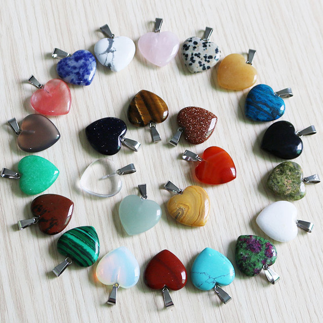 Fubaoying Natural Crystal Pink Heart Necklace Stone Pendant 20mm 50pcs Lot Charms For Jewelry Making