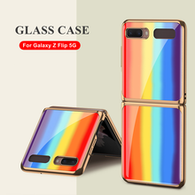 Luxury Electroplate Frame Rainbow Glass Case For Samsung Galaxy Fold 5G Case Hard Plexiglass Protective Cover For Galaxy Fold