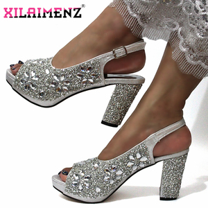 Image 2 - Latest Italian Women Decorate with Rhinestone Matching Shoes and Bag Set in Sliver Color High Quality Shoes Matching Bag For Wed