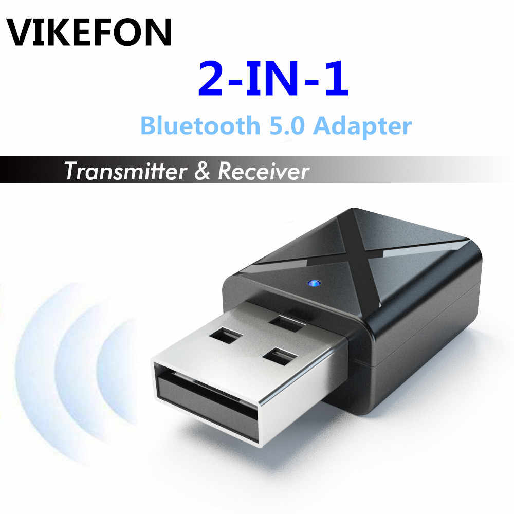 VIKEFON de Audio Bluetooth 5,0 transmisor receptor de Mini Bluetooth Estéreo AUX USB RCA Jack de 3,5mm para PC TV Kit de coche adaptador inalámbrico