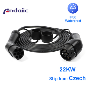 Image 1 - Ev tipo de cabo do carro 2 para tipo 2 conector trifásico uma fase para acessórios do carro elétrico 5m evse cabo de carregamento