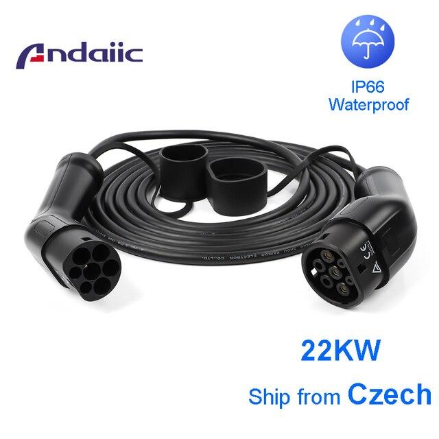 Ev tipo de cabo do carro 2 para tipo 2 conector trifásico uma fase para acessórios do carro elétrico 5m evse cabo de carregamento