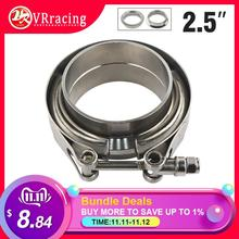 "VR RACING STORE-2.5"" SUS 304 Steel Stainless Exhaust V Band Clamp Flange Kit V-band Vband Male Female Design VR5241"