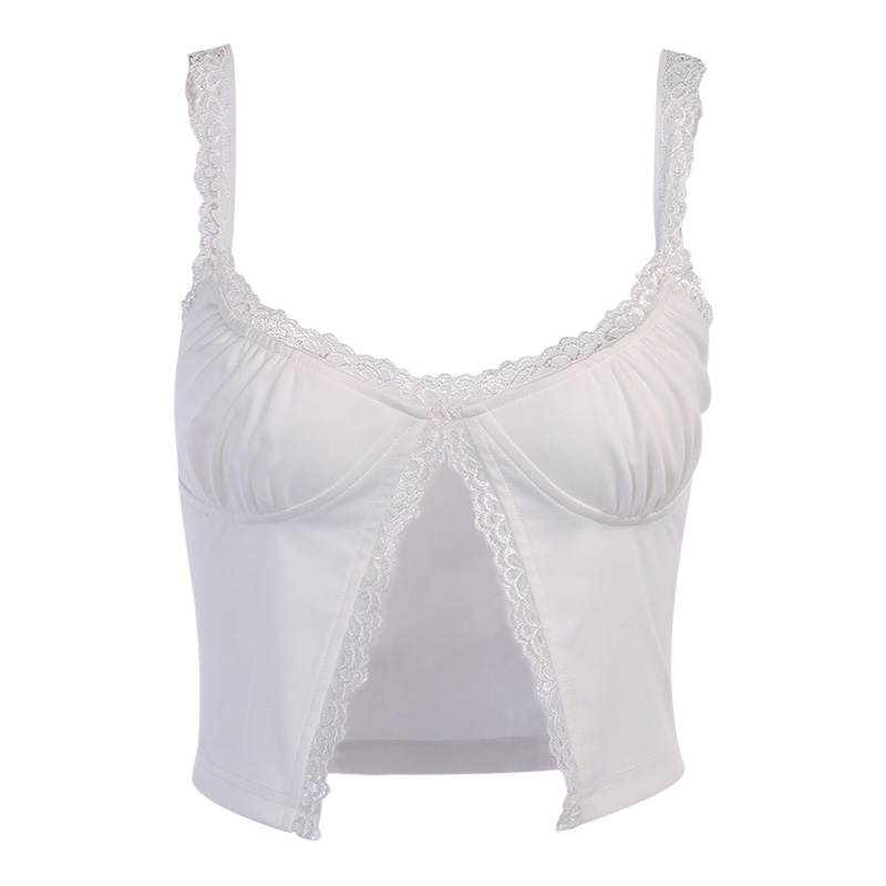 InstaHot Single Button Ruched Camis Sexy Splice White Summer Camisole Ladies Casual 2020 Fashion Cropped Top