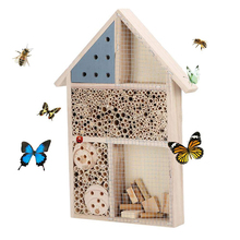Insect House Natural Wooden Bee Hotel Butterfly Habitat for Gardens Ladybugs(Ladybirds), lacewings, Butterfly,Mason Bee,Solitary