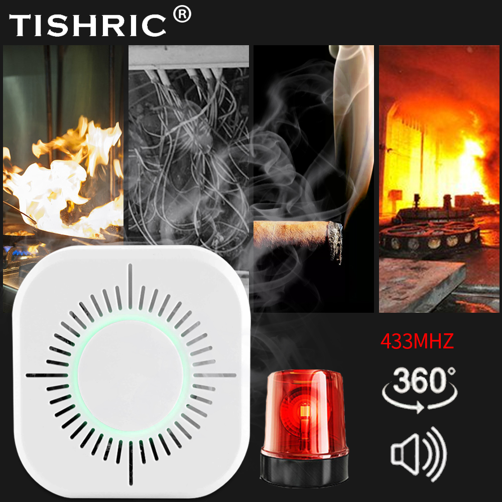 TISHRIC Smoke Detector Wireless 433mhz Fire Alarm Sensor Device Support SONOFF Bridge Smart Home Automation Security Protection