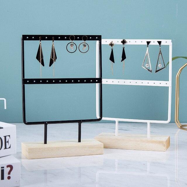 Wholesale Wooden Base Metal Ear Studs Pendant Jewelry Holder Display Stand Organizer Earrings Presenting Rack 24/44/66 Holes 2