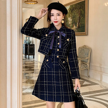 Blue Plaid Tweed Wool Short Jacket + Sleeveless Vest Dress Suit 2019 Winter Wome