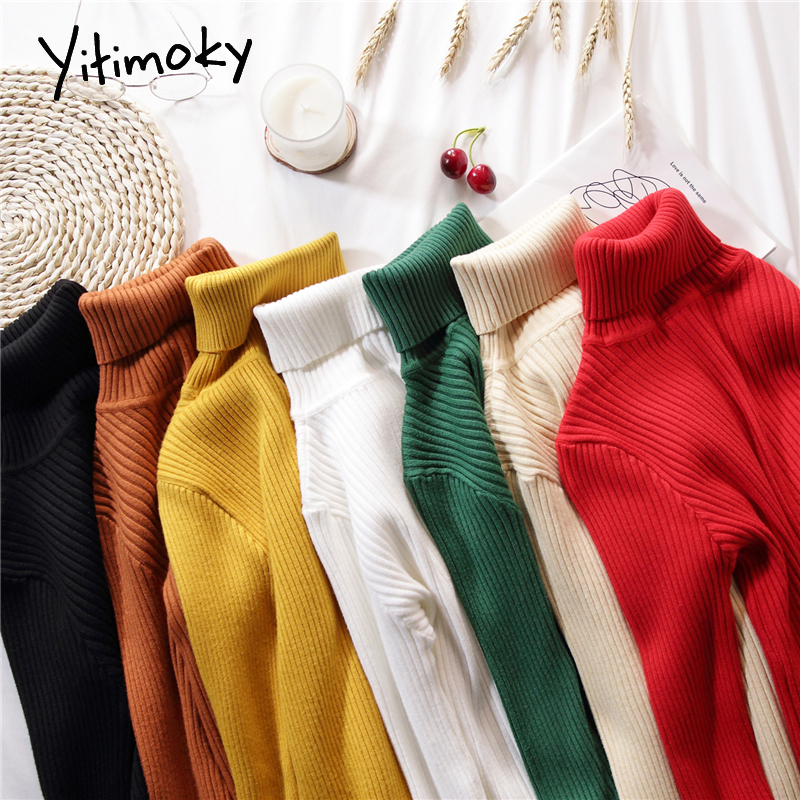 Turtleneck Sweaters And Pullovers Women Soft Stretch Solid Knit Sweater Pink Korean Top Winter Clothes Women Black Striped Shirt