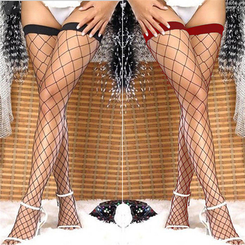 Summer Hot Sales Women Lace Long Stockings Mesh Sheer Fishnet Black Stockings Hollow Out Stretch See Through Stockings Hosiery