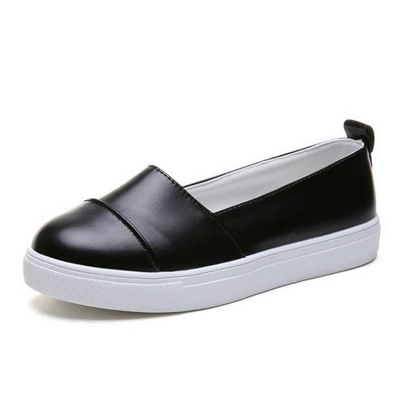 43a8edb7f9d5d CYSINCOS Flats Women Loafers Casual Shoes Leather Ballet Flats White Black  Shoes Woman Slip On Loafers Boat Shoes Moccasin
