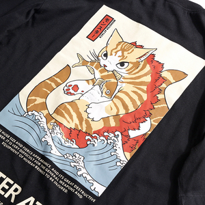 Image 4 - 2020 erkekler Hip Hop T gömlek Streetwear canavar kedi t shirt Harajuku japonya tarzı komik gömlek yaz kısa kollu pamuklu üst giyim Tees