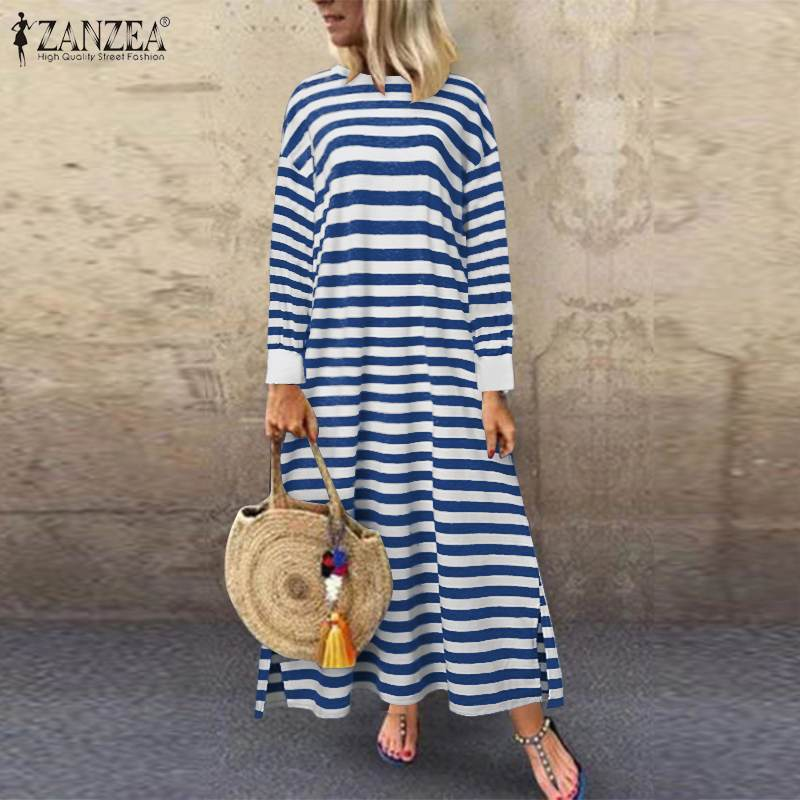 Autumn Long Sleeve Striped Sundress ZANZEA Women Sweatshirt Dress  Vintage Split Vestidos Loose Pullover Plus Size Robe Femme 7