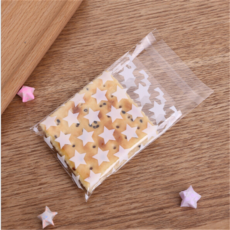 100Pcs /Set Golden 8*10 Star Cookie Pack Cookie Bag Chocolate Handmade Soap Bag Friends Class Reunion Snack Candy Bag