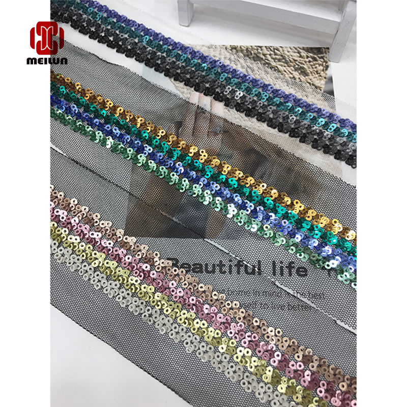 New Hot 2020 Polyester Sequined Lace Ribbon Shiny Trims Fabric Wedding Headdress DIY Accessories Sewing Garment Embellishment
