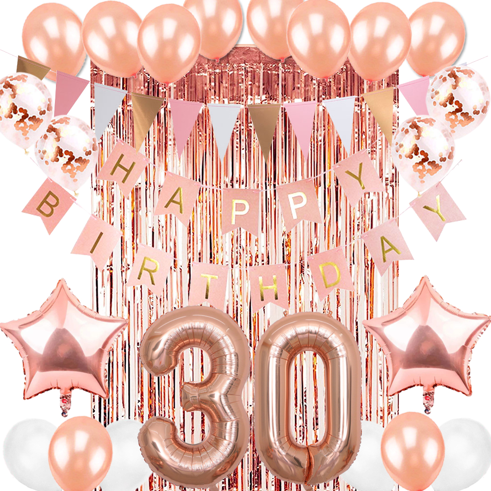 20th Birthday Party Decorations Set Rose Gold Number Foil Helium Balloons  Happy Birthday Banner Party Decor Latex Supplies