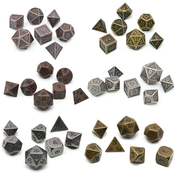 DND Dice Set Polyhedral Metal Dice With Black Bag For Tabletop Games RPG MTG Math Teaching
