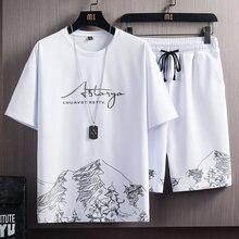 2021 nova camisa masculina + calções esportivos definir verão respirável casual camiseta correndo conjunto moda harajuku impresso masculino esporte terno