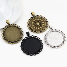 2pcs 30mm Inner Size Antique Silver Plated and Bronze and Black Classic Style Cabochon Base Setting Charms Pendant
