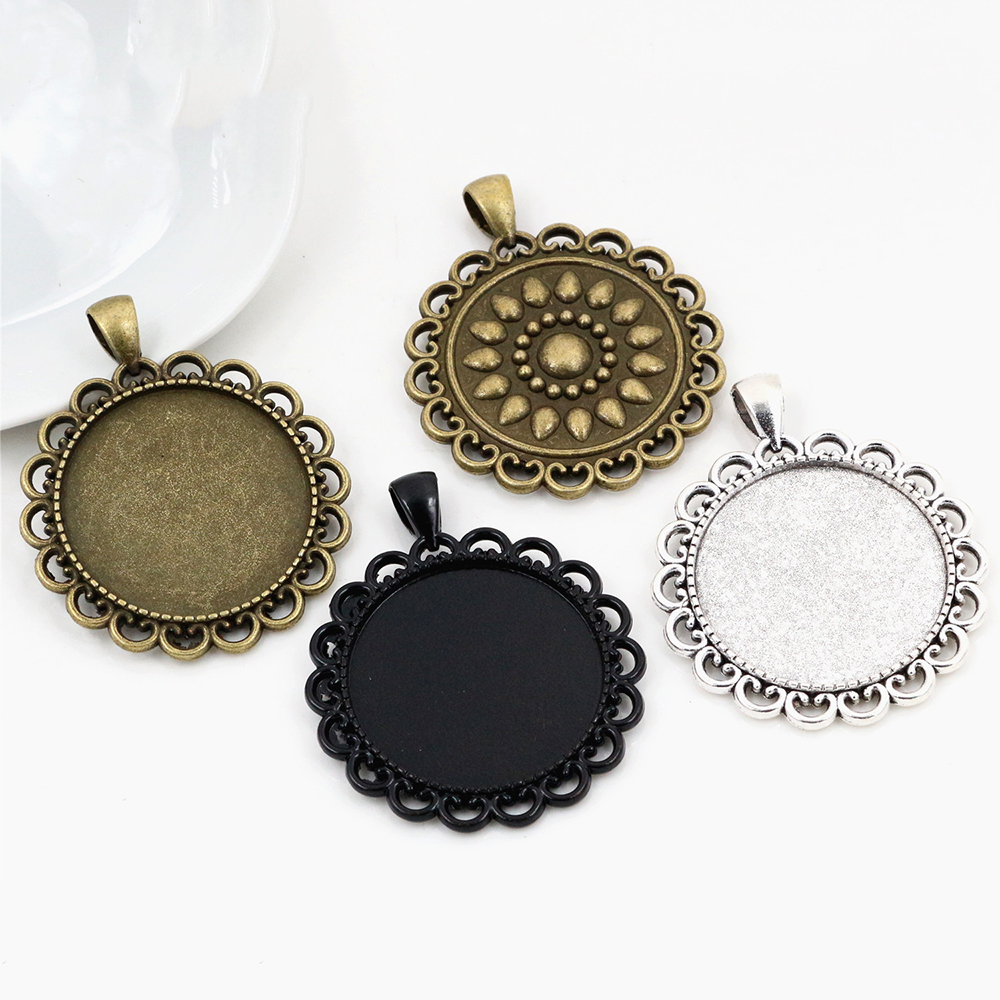 5pcs 30mm Inner Size Antique Silver Plated And Bronze And Black Classic Style Cabochon Base Setting Charms Pendant