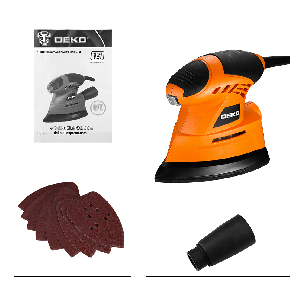Image 5 - DEKO 2019 NEW Mouse Sander  Dust exhaust Mouse Sander for Wood Working Home DIY  Easy to Use with 9 Sheets of sandpaper-in Sanders from Tools