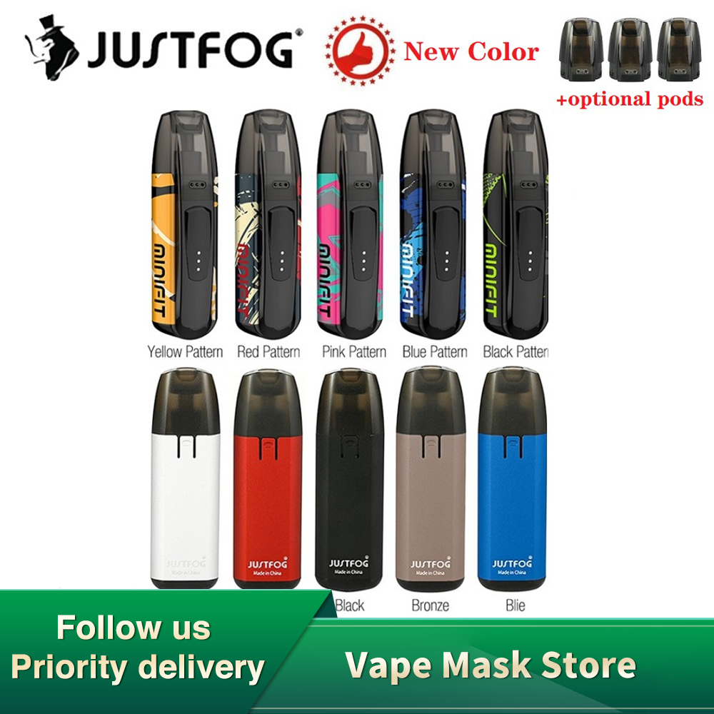 New Colors Kit JUSTFOG MINIFIT Pod Vape Kit W/ 370mAh Battery & 1.5ml Cartridge Pod System Pod Vape Kit Vs Drag Nano/ Kubi