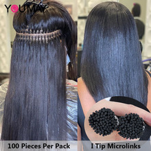 Microlinks-Hair Extenstions Bulk Youmay Straight 3-Bundles 1--2 Silky I-Tip