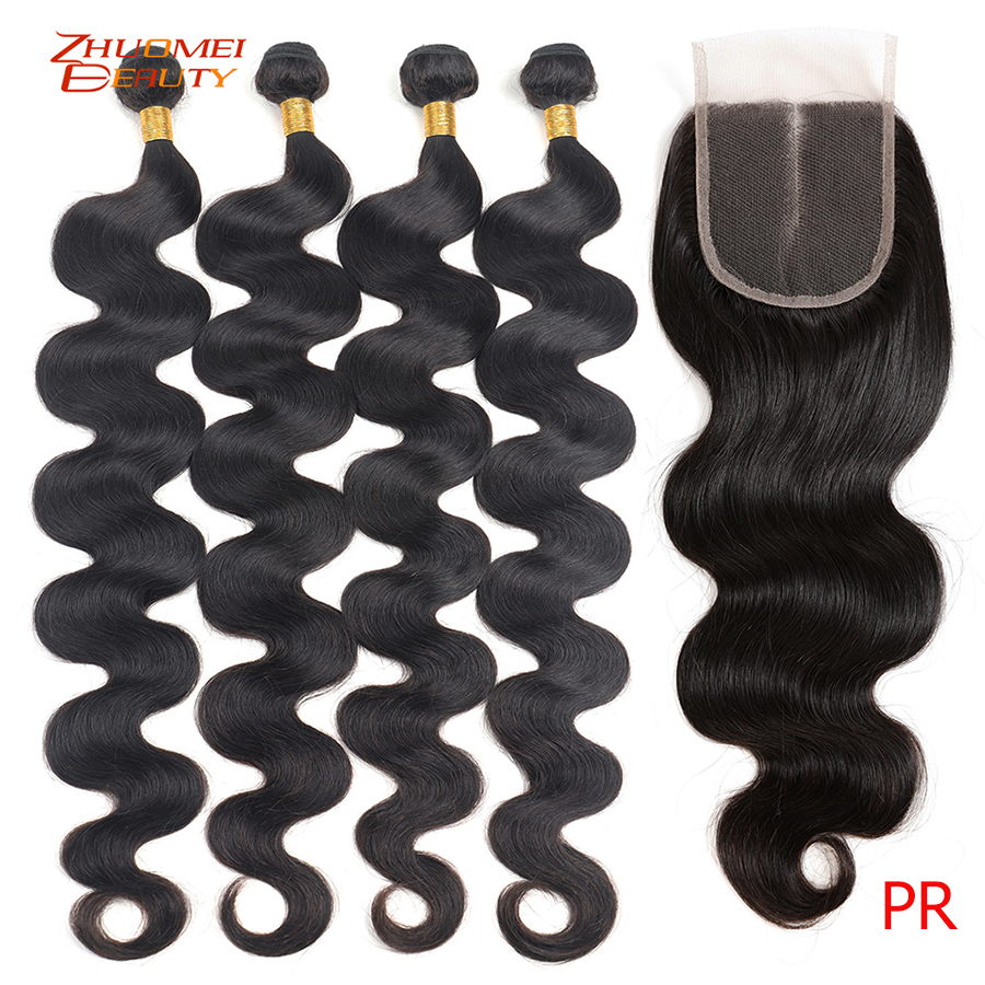 30inch Bundles With Closure Body Wave Bundles With Closure Malaysian Hair Bundles With Closure Remy Human Hair Weaving