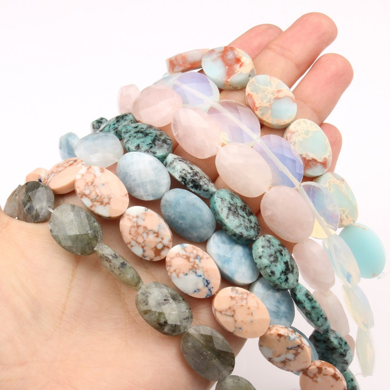 18*13mm Natural Stone Oval Shape Faceted Opal Jades Crystal Loose Spacer Beads for Needlework Jewelry Making Diy Bracelets 7.5''
