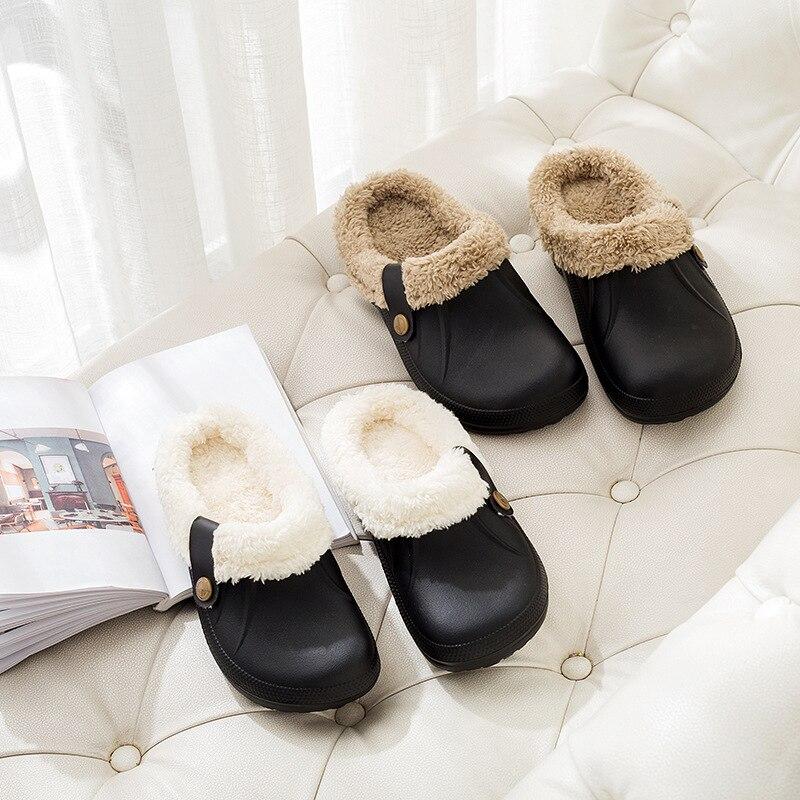 H02f10f6c4ae9478b8f45d9edd5da0161S Pantufa chinelos masculinos de couro, de alta qualidade, de pu, para inverno, de pelúcia, curto, salto plano, quente, para área interna