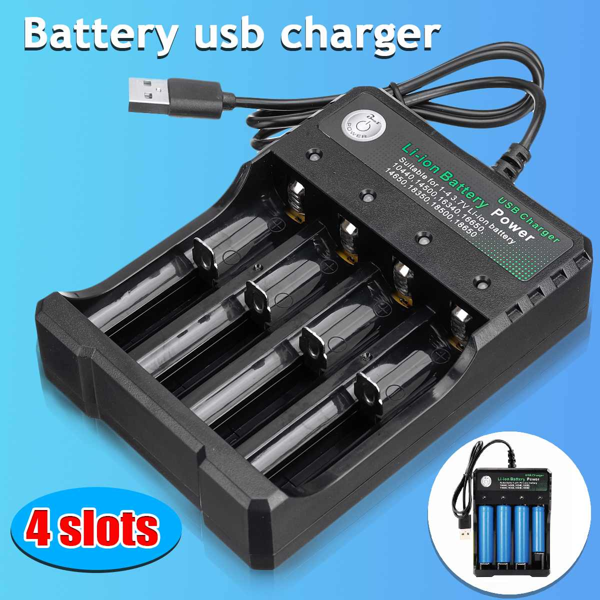 Universal Black 4 Slots USB Rechargeable Battery Charger For 14500 18650 26650 18350 Charging 3 7V Rechargeable Li-on Battery