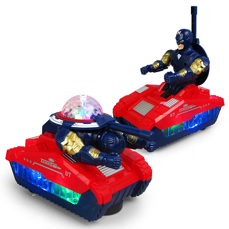 Children Electric Universal Transformation Chariot 360-Degree Rotating Transformation Tank Light Music Toy Car