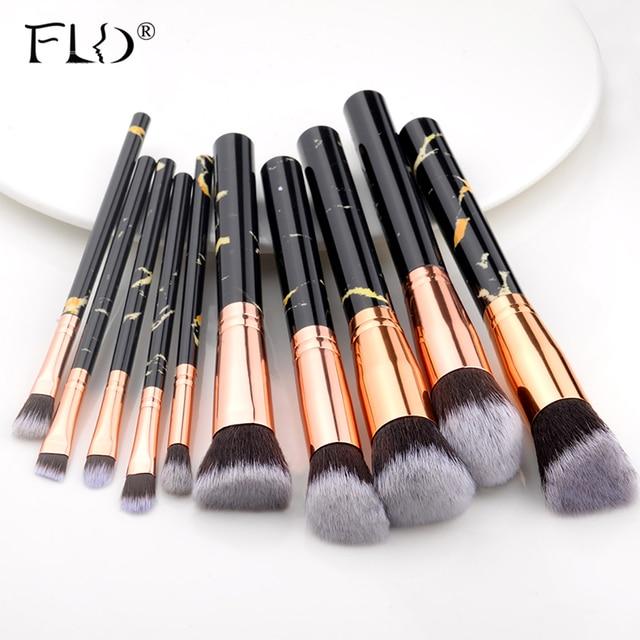 FLD 10 Pcs/ 8 Pcs professional makeup brush Set tools Powder Foundation Eyeshadow Lip Eyeliner Blush Marble Face Makeup Brushes