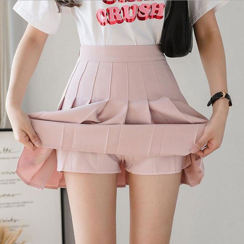 2020 Summer Korean Skirt Shorts Women High Waist Sexy Mini Skirt School Short Pleated Kawaii Japanese Pink Skirt Female