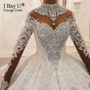 Image 3 - 100% תמונה אמיתית יוקרה בלינג 3D אבנים חתונת שמלה ארוך שרוולים 2020 קריסטל כדור שמלה נפוחה 180cm רכבת