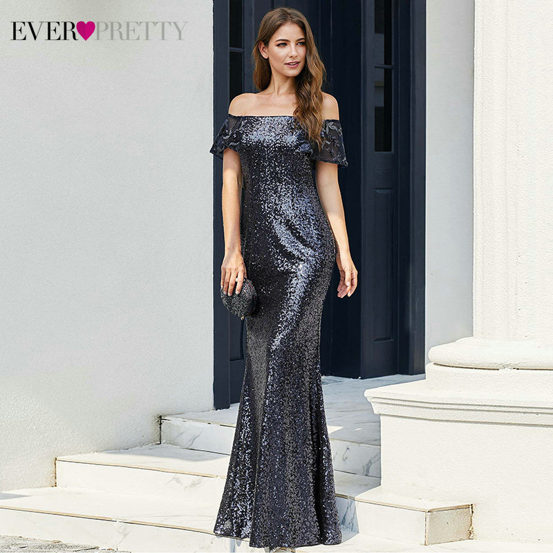 Sparkle Navy Blue Prom Dresses Ever Pretty EP00920NB Off Shoulder Sequined Draped Ruffles Mermaid Party Gowns Vestido De Festa