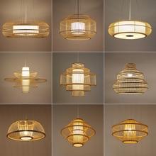 Chinese Classical Bamboo Pendant Lights Asian Hand Knitting  Pendant Lamp Living Room Restaurant Home Decor Hanglamp Luminaria